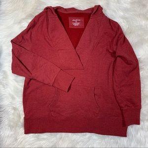 Eddie Bauer V Neck Hooded Pullover Sweatshirt XXL